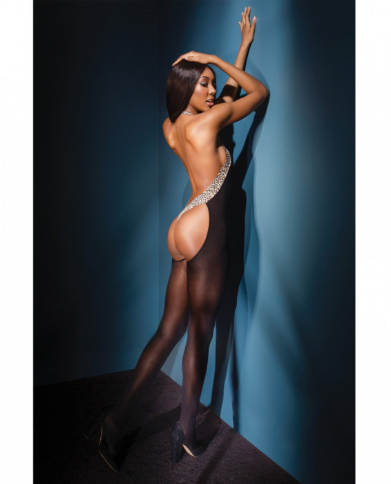 Lenjerie Lady Lust Sexy Bodystocking Fishnet Leopard Open Back Plasa Stocking