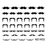 Abtibilde Unghii Mustati Negre, MZ-W22 (Abtibilduri Unghii - Tatuaje Unghii - Nail Stickere)
