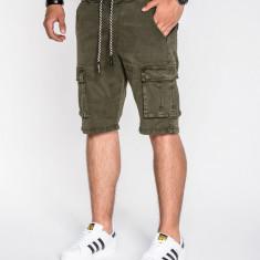 Pantaloni scurti pentru barbati, verde, cu siret, buzunare laterale, casual - P527