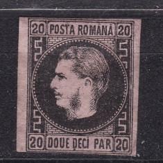 1867 - Carol I - Favoriti - 20 parale - hartie roz subtire - tip T5 - necirculat