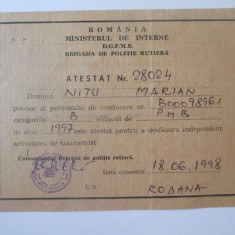 Cumpara ieftin Atestat 140 x 115 mm taximetrist independent Bucuresti 1997