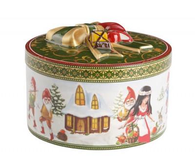 Cutie biscuiti Christmas toys gift box round mediun Snow white-265776 foto