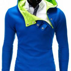 Hanorac pentru barbati, cu gluga, inchidere laterala, fermoar si capse, sport - paco-albastru-verde, S, XL, XXL