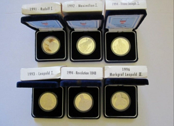 Monede argint - 100 Schilling 1991, 1992, 1993, 1994, 1996 Austria PP
