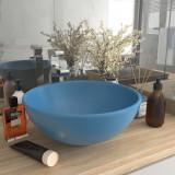 VidaXL Chiuvetă baie lux albastru mat 32,5x14 cm ceramică rotund