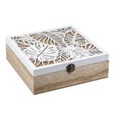 Cutie lemn pentru bijuterii, 24 x 24 cm, inchidere metalica