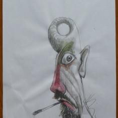 Caricatura de Horatiu Malaele , creioane colorate