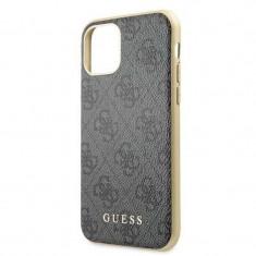 Husa de protectie, Guess 4G Collection, iPhone 11 Pro, Gri/Auriu