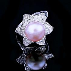 Inel din Argint 925 cu Perla Naturala si Diamante, Sunflower Purple