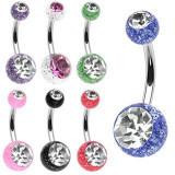 Piercing din oțel cu sclipici și bile mici - Culoare Piercing: Transparent