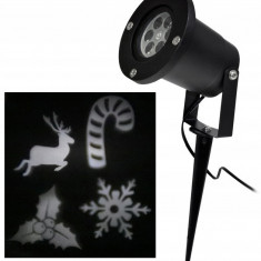 Proiector Laser LED Tip Star Shower 3D Metal Interior/Exterior, Efecte de Lumini pentru Craciun, Culoare Lumini Alb