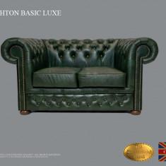 Canapea Chesterfield Basic Lux ,Cloudy Green,2 locuri ,Piele naturală