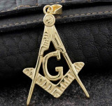 Cumpara ieftin Bijuterie de Colan / Pandantiv Masonic Auriu - Echer si Compas cu Litera G - MM756