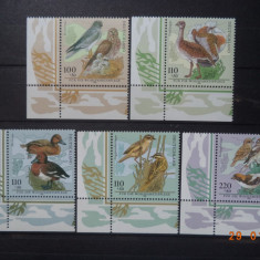 1998  Germania Mi 2015 - 2019  Pasari**  Serie completa., Fauna, Nestampilat