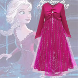 Rochie/Rochita roz Elsa Frozen 2+ coronita roz/ petreceri tematice aniversari