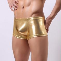 Boxeri barbati material lucios - stretch - auriu - sexy, M, XL, XXL