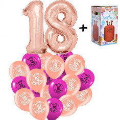 "Pachet majorat baloane ""18"",2 folii rose gold+30 latex+1 butelie heliu-20181181"