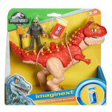 Imaginext Jurassic World Carnotaurus si Dr. Malcolm 25 cm, Mattel