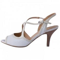 Sandale dama, din piele naturala, marca Geox, D52B9A-1-13-06, alb , marime: 35