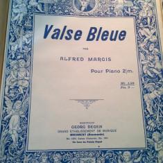 Alfred Margis Valse Bleue Litografie Partitura Muzicala Veche Georg Degen