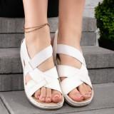 Sandale dama cu talpa ortopedica albe Mikalya