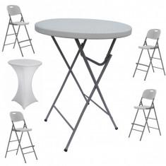 Set masa plianta rotunda inalta catering D80xH110cm cu 4 scaune pliante inalte si husa elastica alba MN016694-6-66245 Raki