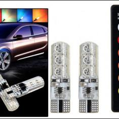 Set 2 Becuri Auto LED RGB T10 6 SMD W5W Cu Telecomanda Model P10
