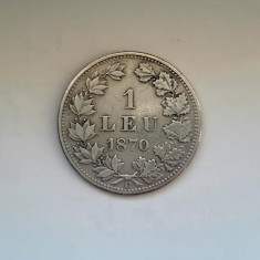 ROMANIA - 1 Leu 1870 C . Argint . Moneda rara !