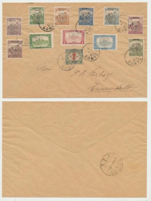 Plic dr Szalay 1920 cu 12 timbre emisiunea Cluj fosta stampila maghiara Ladamos