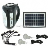 Kit Panou Solar si 220V GDLite GD8009 cu Acumulator 6V2A, USB, Radio