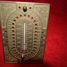 Calendar si termometru din bronz masiv  18xx12 cm