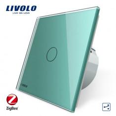 Intrerupator simplu cap-scara cap-cruce cu touch Livolo din sticla – protocol ZigBee, Verde