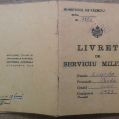 Livret de serviciu militar/ Ministerul de Razboiu, 1923
