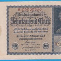(5) BANCNOTA GERMANIA - 10.000 MARK 1922 (19 IANUARIE 1922) - VARIANTA MICA