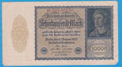 (5) BANCNOTA GERMANIA - 10.000 MARK 1922 (19 IANUARIE 1922) - VARIANTA MICA foto