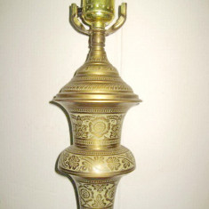 5636-Lampa mare veche stativ bronz-alama masiva gravata.