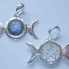 Pandantiv argint Fazele lunii cu pentagrama - labradorit