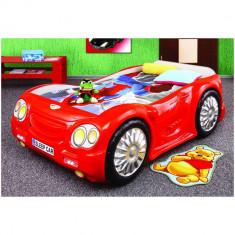 Pat masina copii Sleep Car - Plastiko - Rosu