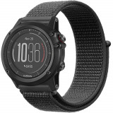 Curea ceas Smartwatch Garmin Fenix 5, 22 mm iUni Soft Nylon Sport, Midnight Gray