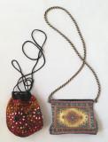Vintage 2 poșete mici de umăr tip plic cu fermoar și tip punga