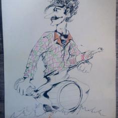 Caricatura Jim Croce, artist american folk-rock/ tus si carioca/ hartie, fan art