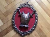Panoplie veche miniaturala belgiana cu scut si sabii incrucisate