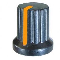 Buton pentru potentiometru, 15mm, plastic, negru-portocaliu, 15x15mm - 127081