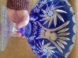 Fructiera sticla cristal cobalt masiva mare grea 3,5kg 32cm manufactura cadou
