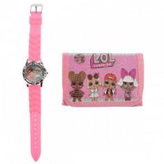 Set ceas, pentru copii, cu LOL SURPRISE, portofel cadou