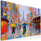 Tablou pictat manual - Rainy Paris - 3 piese - 60 x 40 cm, Artgeist
