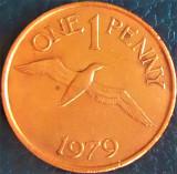 Moneda exotica 1 PENNY - GUERNSEY, anul 1979 *cod 870 luciu de batere, Europa