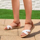 Sandale dama cu talpa ortopedica albe Ridasi