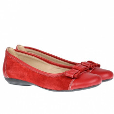 Balerini dama rosii din piele naturala FLORR