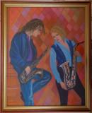 """Tablou modern """"Jazz"""", pictat in culori acrilice, 55x45 cm, rama din lemn, Muzica, Acrilic, Altul"""